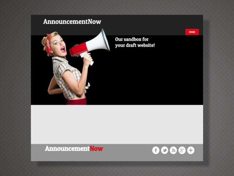 Announcement Now - Sandbox Site Development